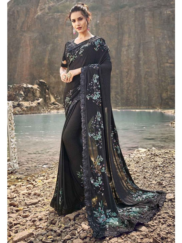 Party Wear Saree Black Colour.