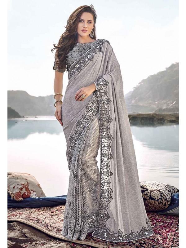 Grey Colour Hand Work Sari.
