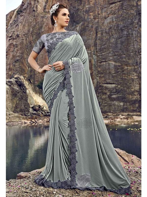 Grey Colour Heavy Designer Saree.