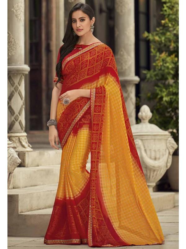 Red,Yellow Colour Printed Bandhej Saree.