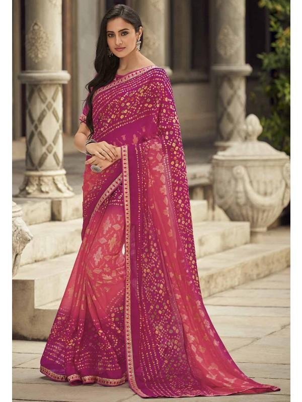 Pink Colour Traditional Saree.