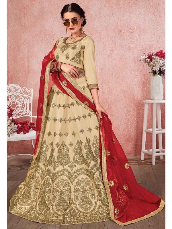 Indian Wedding Lehenga Choli Beige Colour.