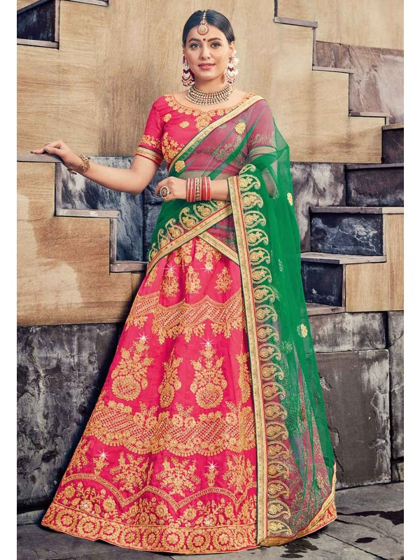 Pink Colour Indian Designer Lehenga.
