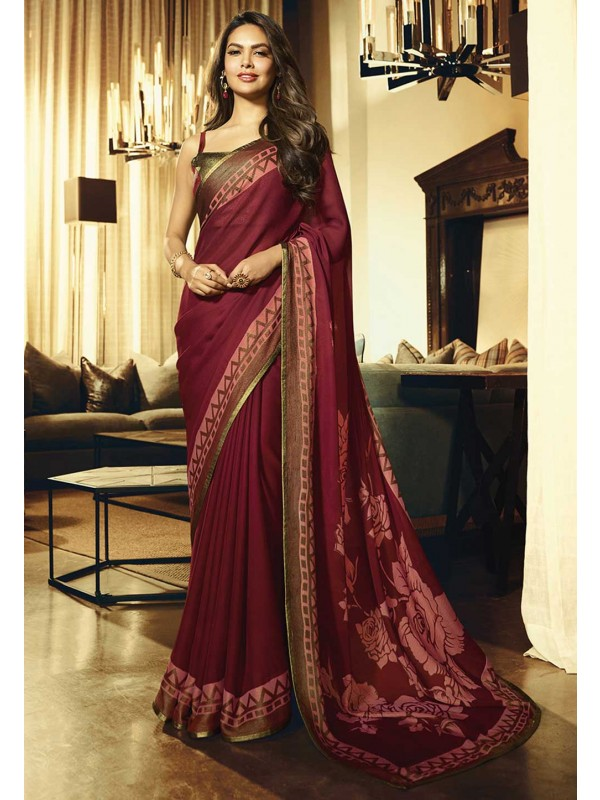 Maroon Colour Party Wear Saree.