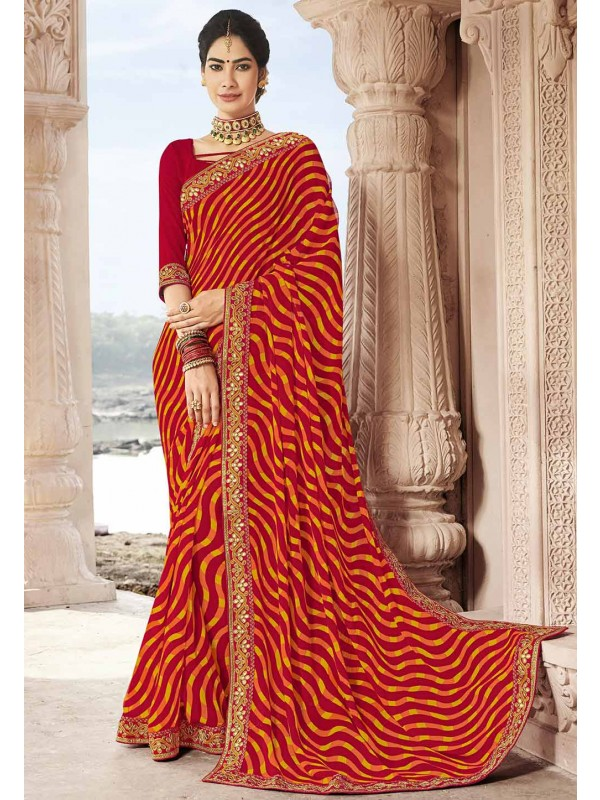 Printed Saree Red,Maroon Colour.