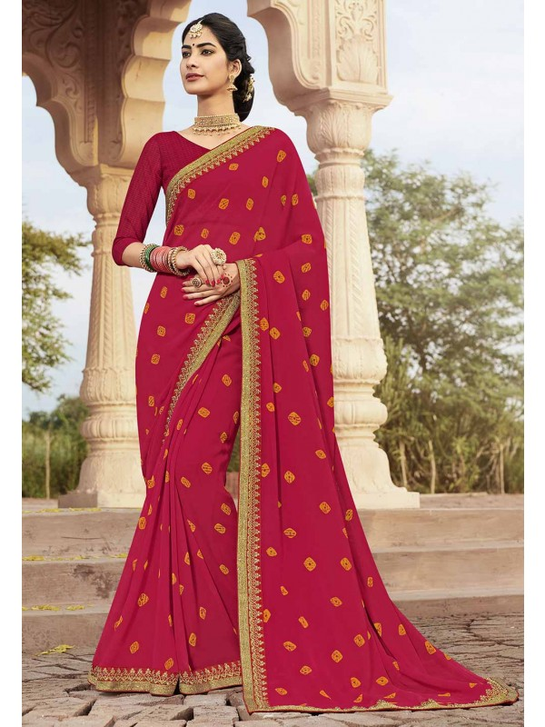 Pink Colour Indian Wedding Saree.