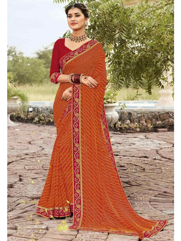 Orange Colour Traditional Sari.