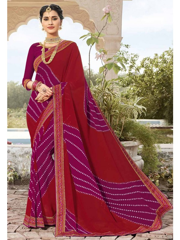 Red Colour Georgette Saree.