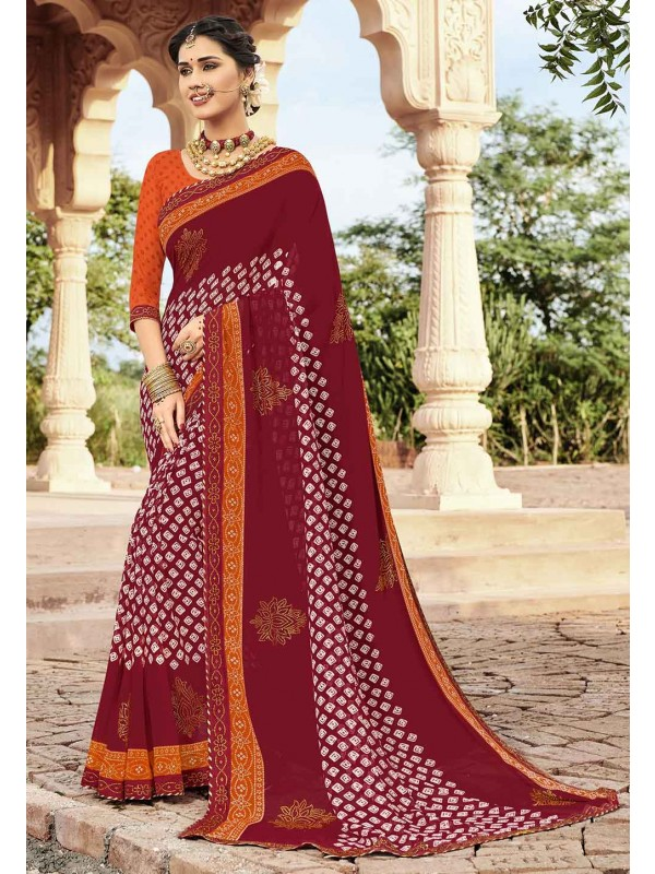 Maroon Colour Designer Saree.