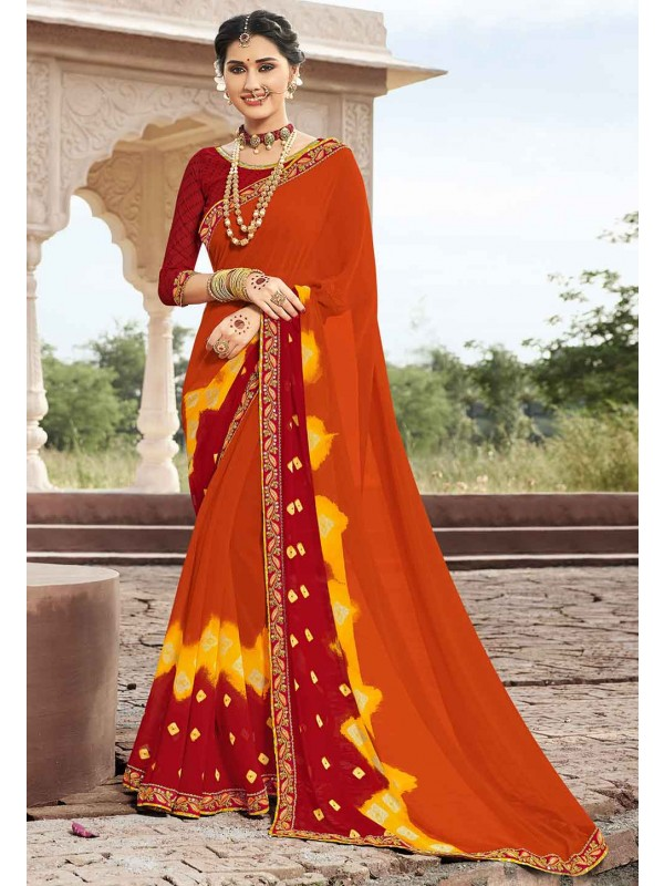 Orange Colour Indian Traditional Saree.
