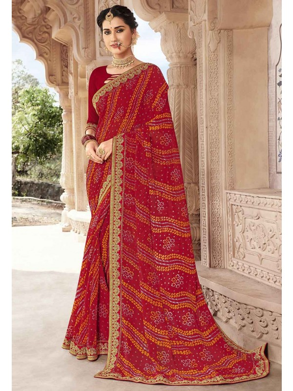 Red Colour Printed Saree.