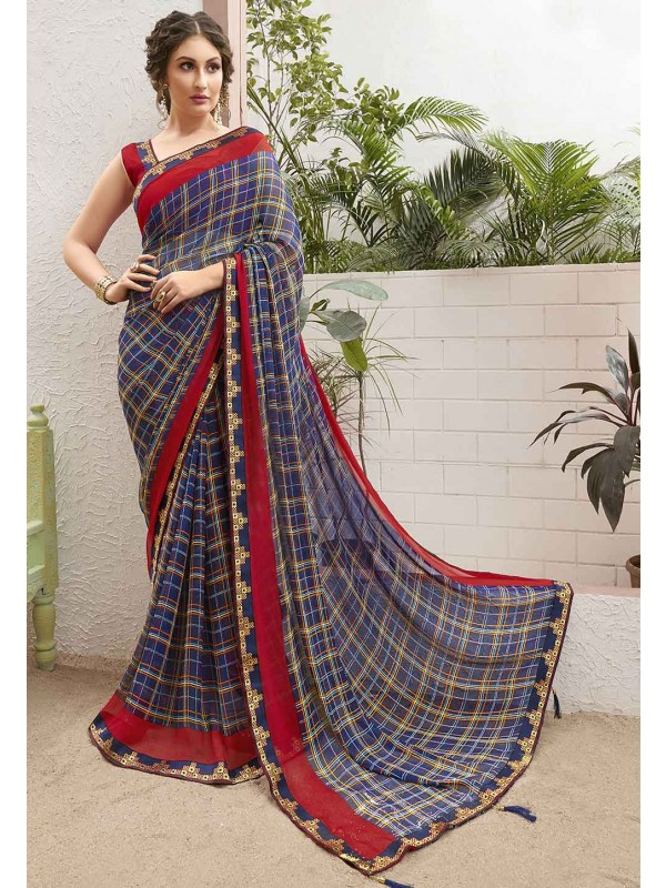 Blue Printed Saree.