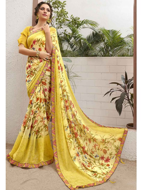 Yellow Colour Designer Sari.