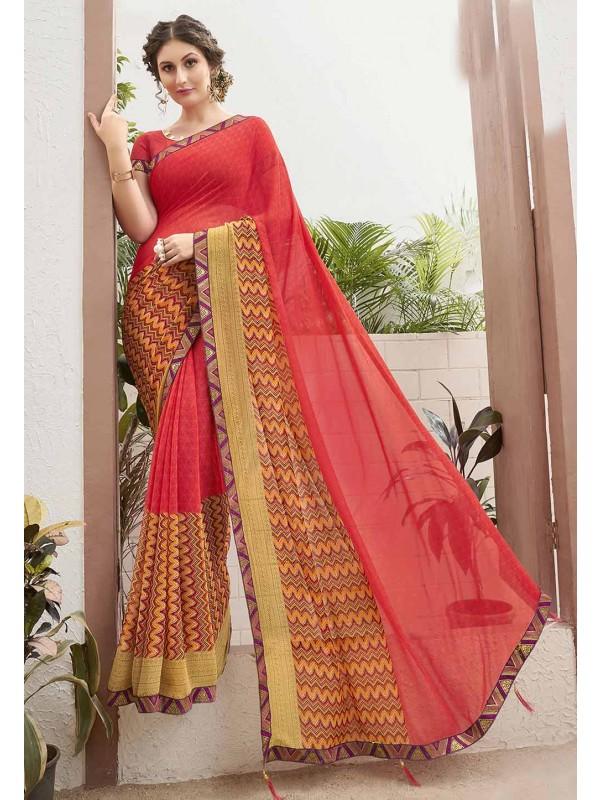 Red Colour Casual Sari.