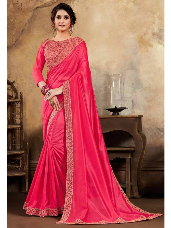 Rose Pink Colour Indian Wedding Saree.