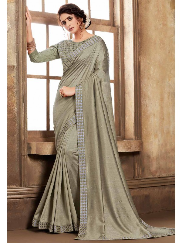 Grey,Green Colour Silk Sari.