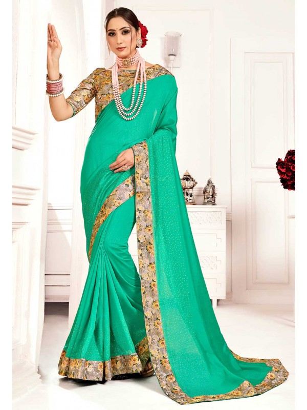 Green Colour Printed Sari.