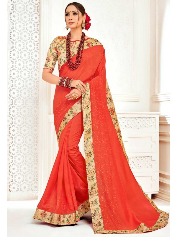 Orange,Red Colour Designer Sari.