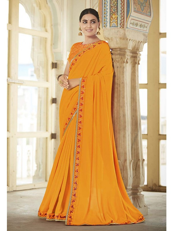 Orange Colour Georgette Saree.