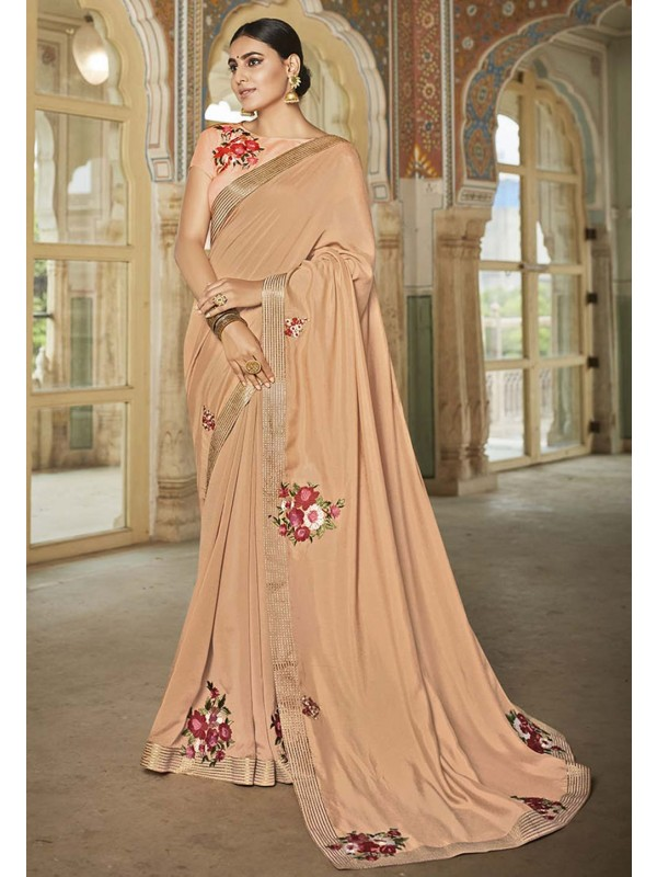 Indian Designer Saree Beige Colour.