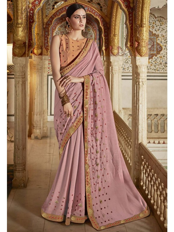 Designer Saree Peach Colour.