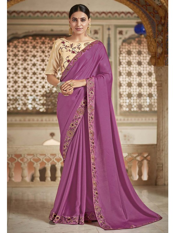 Purple Colour Heavy Designer Saree.