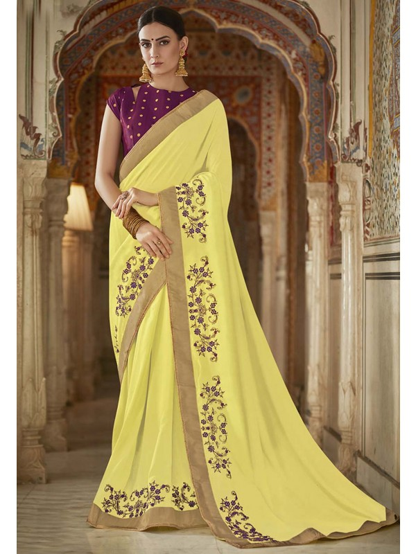 Georgette Saree Lemon Colour.