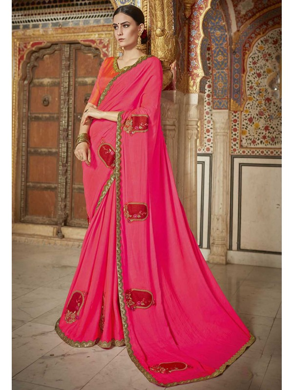 Pink Colour Embroidery Saree.