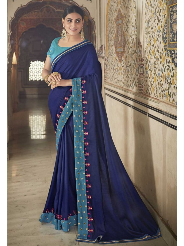 Blue Colour Georgette Saree.