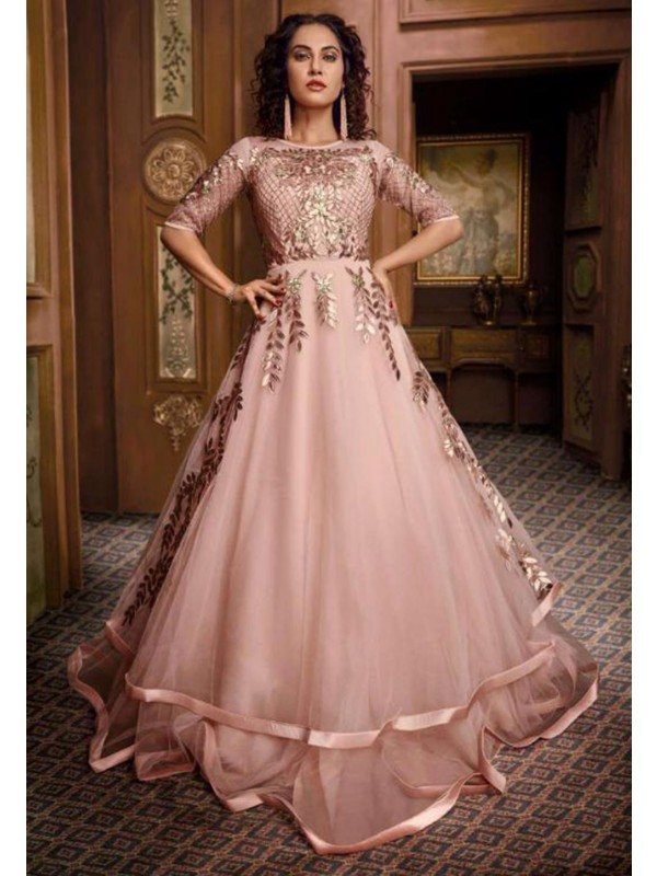 Cream,Pink Colour Indowestern Gown.
