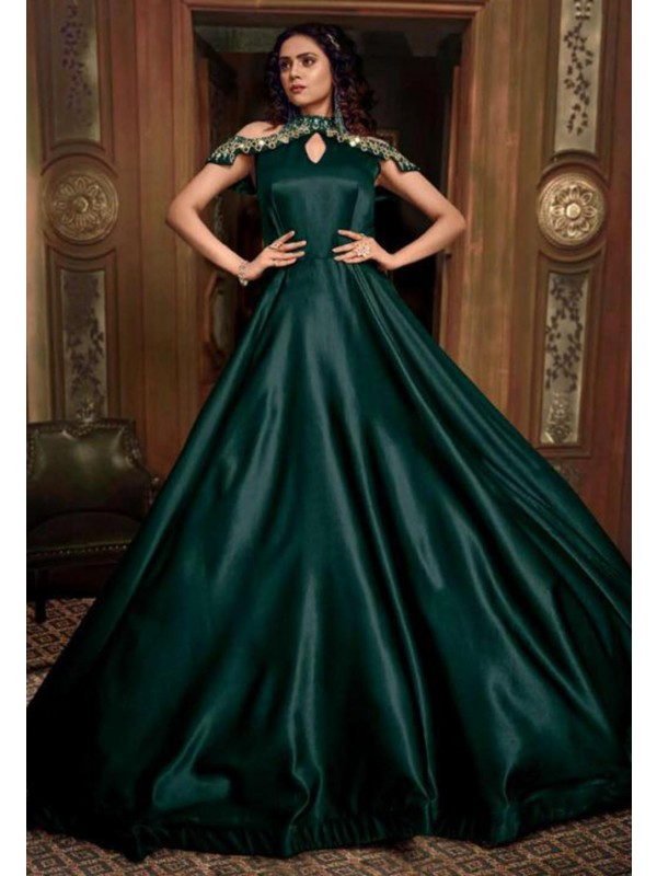 Green Colour Designer Readymade Gown.