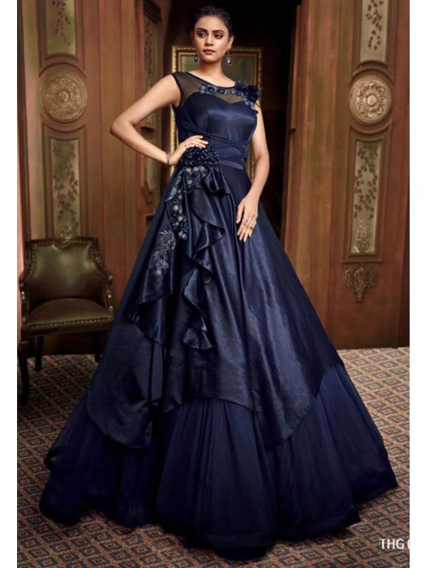 Blue Colour Party Wear Gown.
