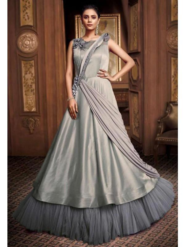 Fabulous Grey Colour Designer Gown.