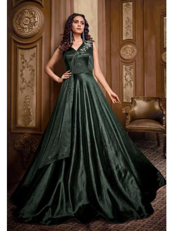 Steel Green Colour Designer Indowestern Gown.
