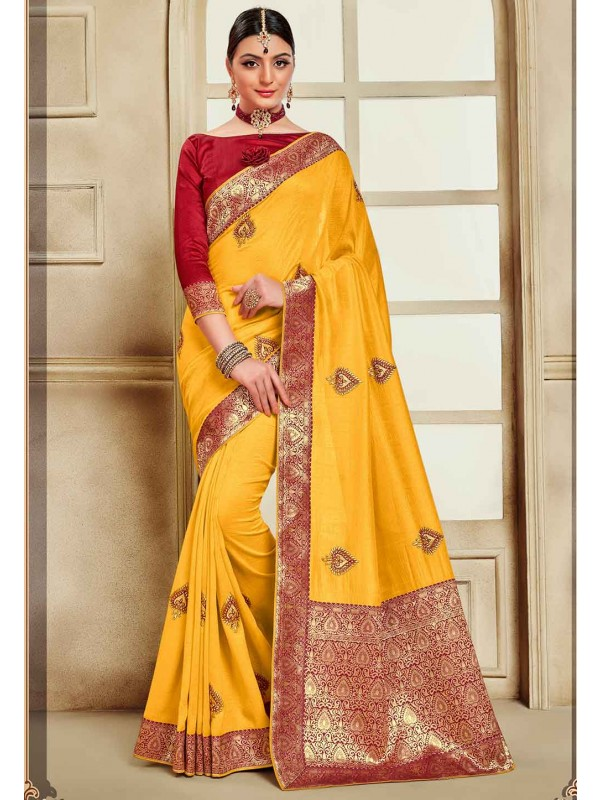 Indian Wedding Saree Yellow Colour.