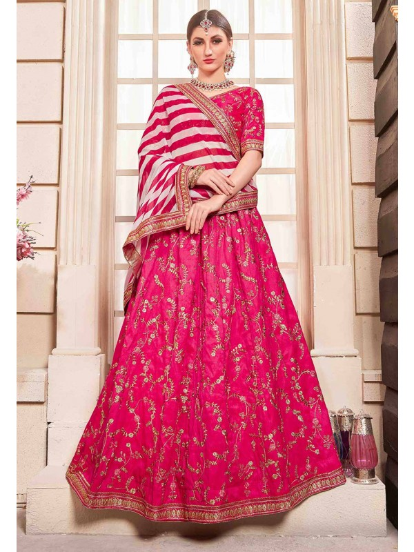Flossy Pink Colour Wedding Lehenga Choli.