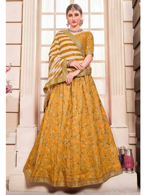 Yellow Colour Indian Designer Lehenga.