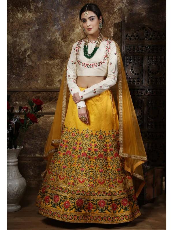 Yellow Colour Silk Indian Designer Lehenga Choli.