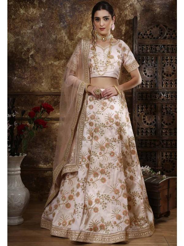 Silk Designer Lehenga Choli Peach Colour.