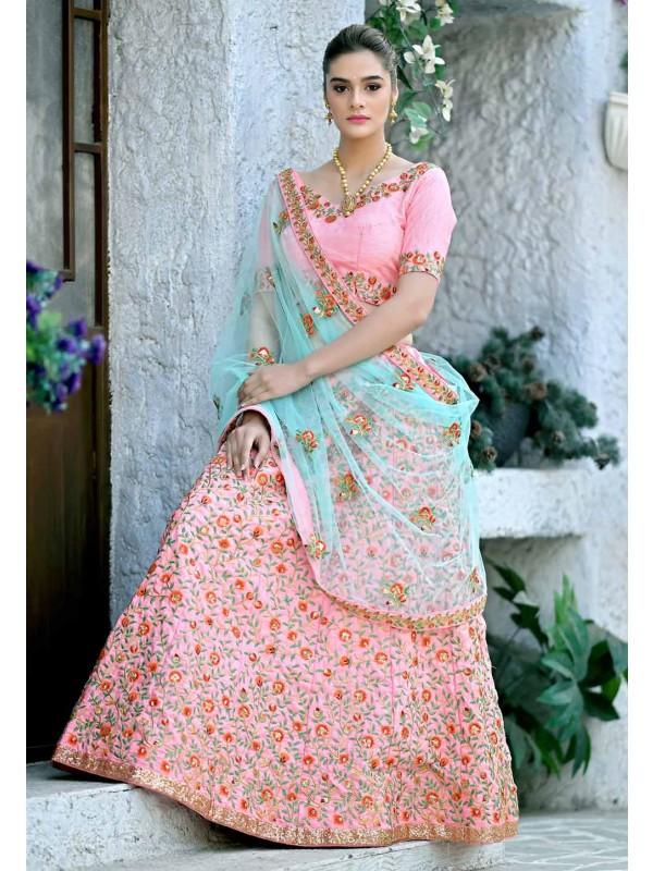 Light Pink Colour Silk Designer Lehenga Choli.