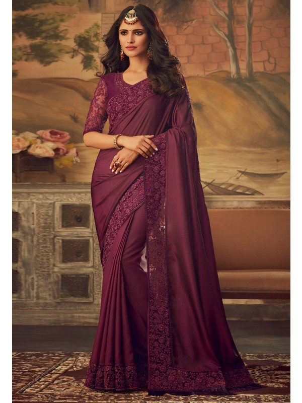 Maroon Colour Silk Designer Saree.