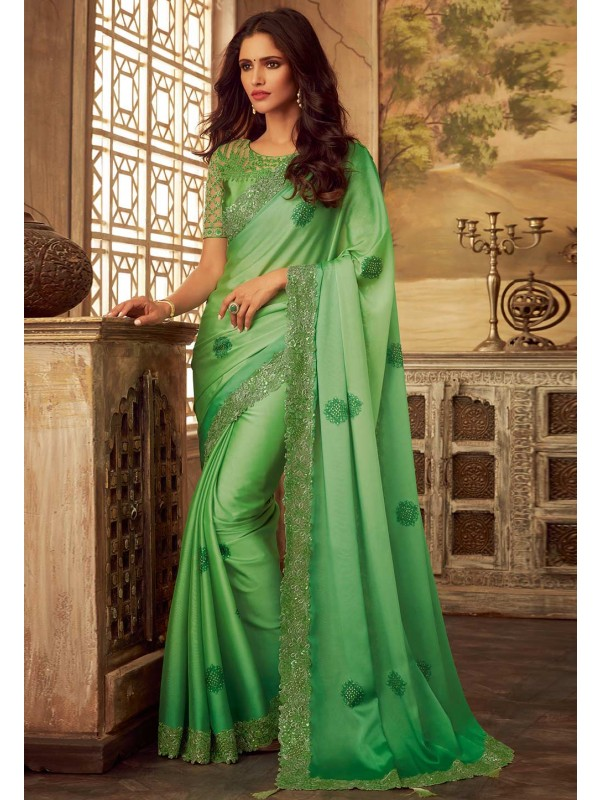 Indian Saree Green Colour.