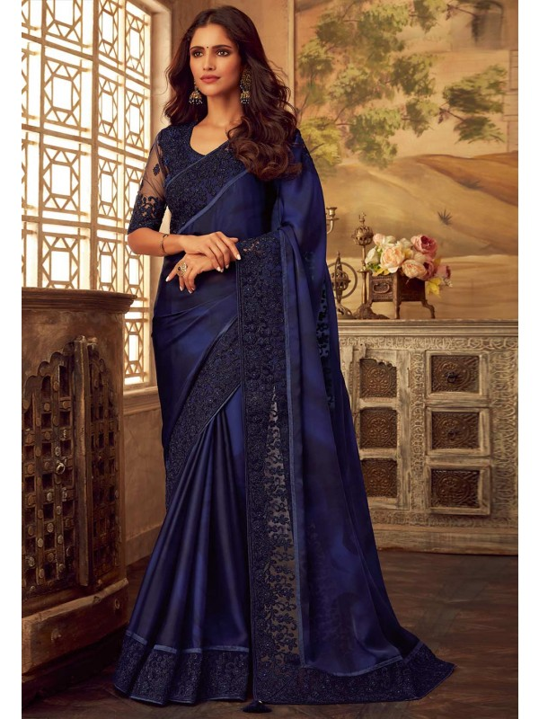 Royal Blue Colour Saree.