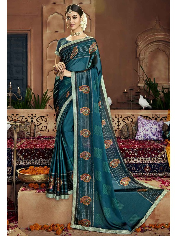 Teal Blue Colour Printed Saree.