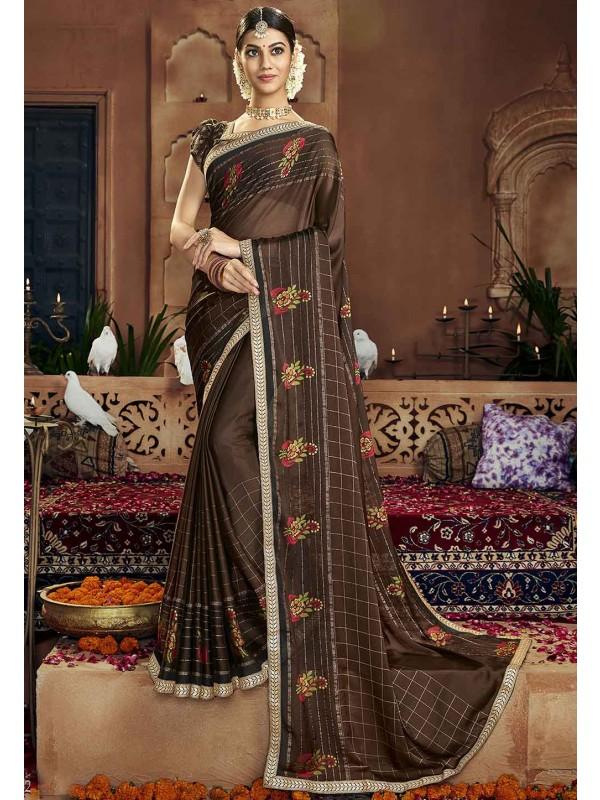 Brown Colour Casual Saree.