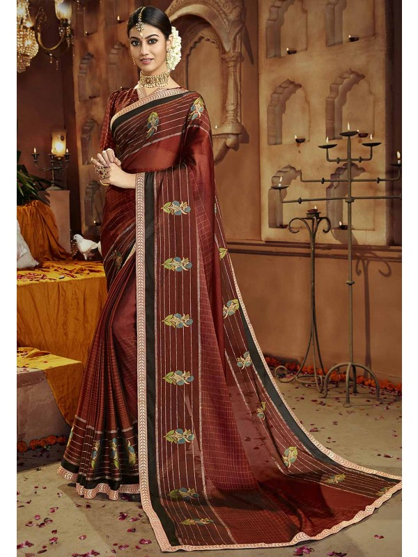 Maroon Colour Saree.