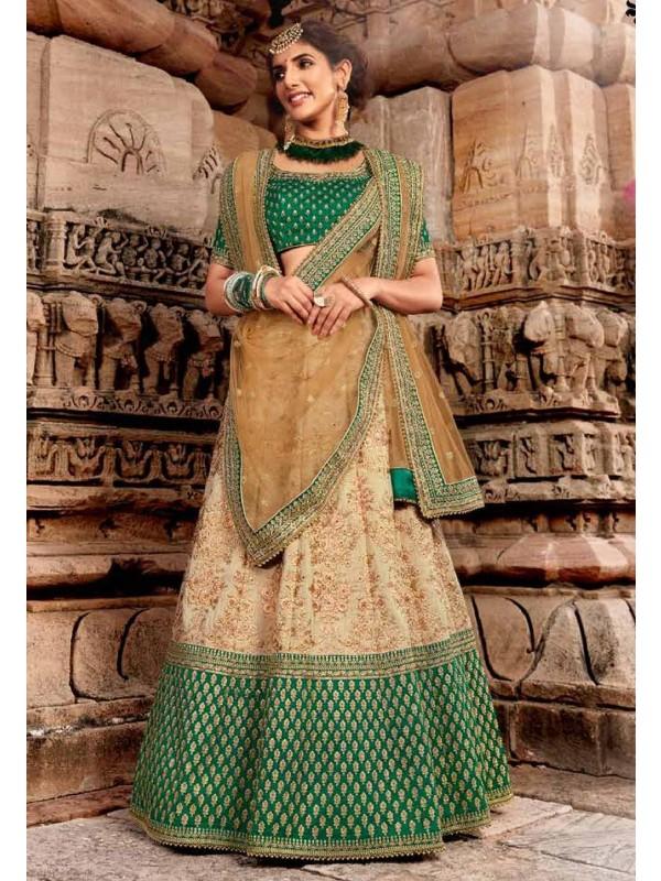 Beige,Green Colour Silk Lehenga Choli.