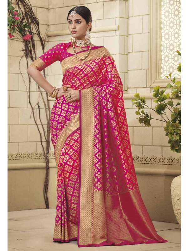 Pink Colour Party Wear Sari.