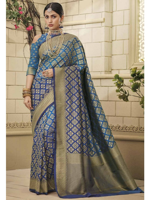 Blue Colour Weaving Saree.