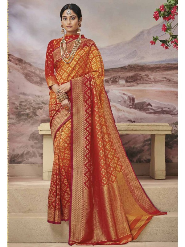 Traditional Saree Red,Orange Colour.